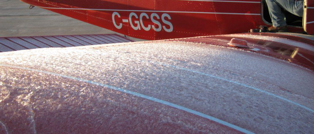 frost on airplane wing