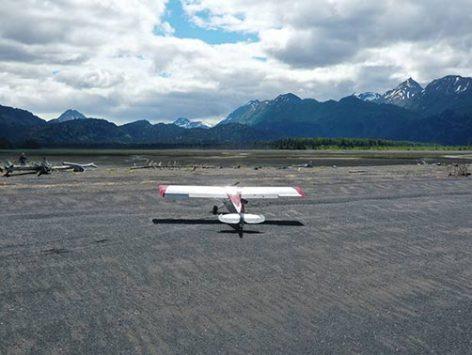 airplane landing on beach